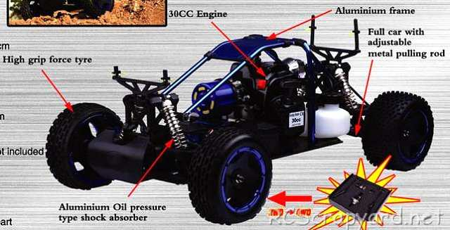 FS Racing Thunderbolt Fire 2WD - 1:5 Nitro Truggy Chassis
