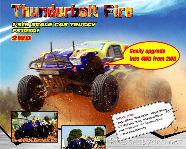 FS Racing Thunderbolt Fire 2WD - 1:5 Nitro Truggy
