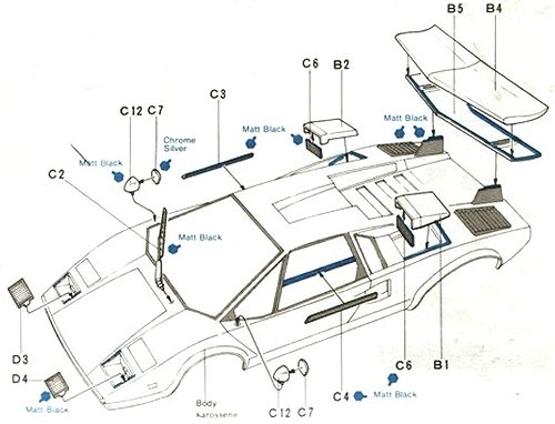 Tamiya Lamborghini Countach LP500S #58005 Body Shell