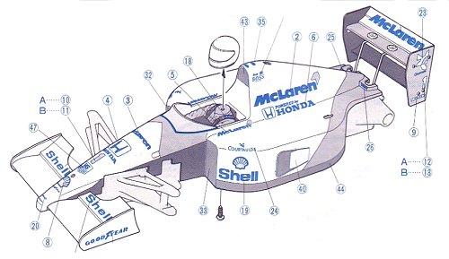 Tamiya McLaren MP4/6 Honda #58104 F102 Body Shell