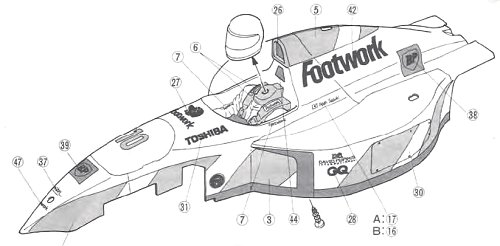 Tamiya Footwork FA13 Mugen Honda #58114 F102 Body Shell