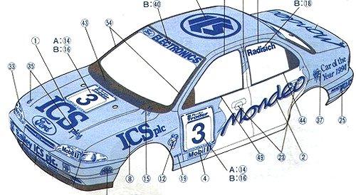 Tamiya Ford Mondeo BTCC #58143 FF01 Body Shell