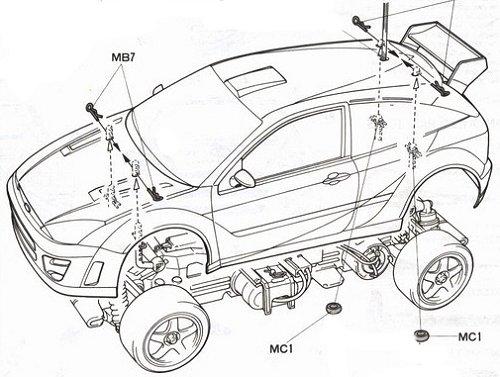 Tamiya Ford Focus WRC #58241 TL-01 Body Shell