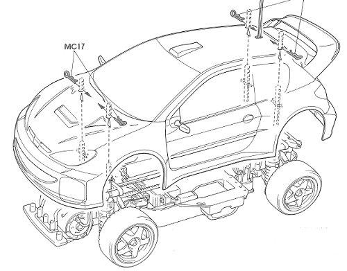 Tamiya Peugeot 206 WRC #58250 TA03F-S Body Shell
